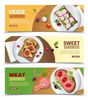 Sandwiche, die horizontale fahnen annoncieren