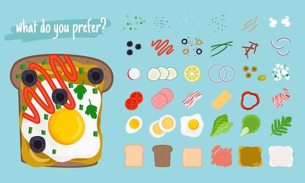 Sandwiches-elemente. cartoon-zutaten für leckere burger und hamburger, vektorillustrationsscheibe von geröstetem hühnchen und käse, frische tomaten und zwiebeln, gegrillte eier und b