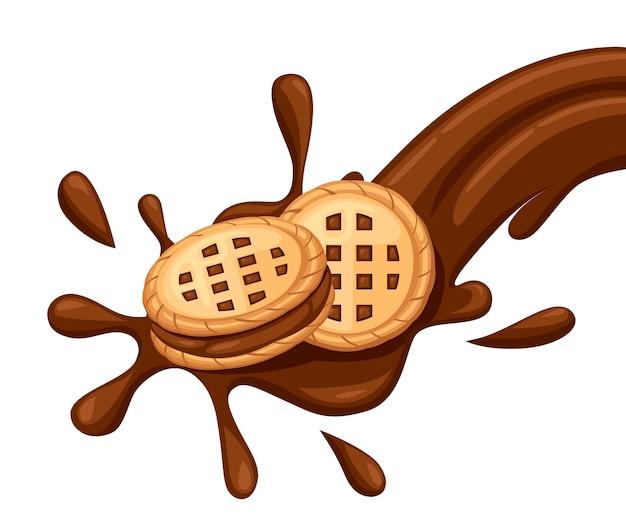 Sandwichkekse. schokoladenplätzchen mit schoko-sahne fließen. cracker drop in schokoladenspritzer. essen und süßigkeiten, backen und kochen thema. illustration lokalisiert auf weißem hintergrund.
