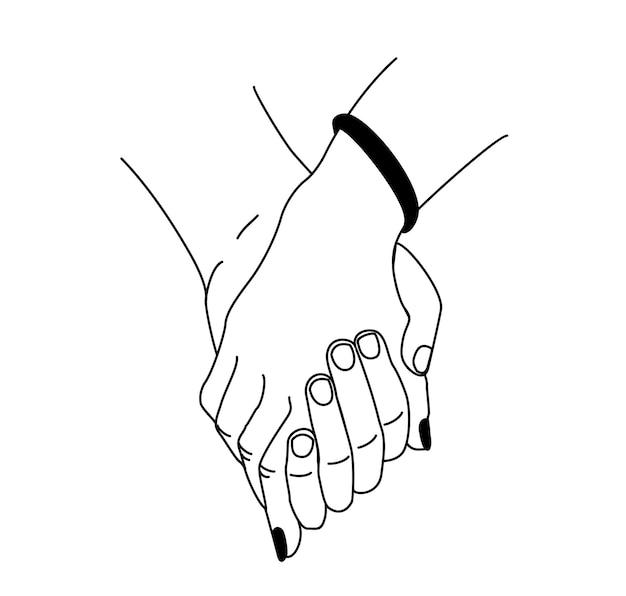 Sanfte berührung händchenhalten mit zärtlichkeit und liebe fürsorglicher romantischer kontakt der handflächen paarweise halten