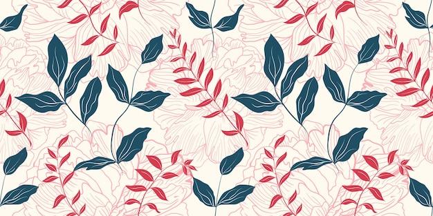 Sanfte rosa pfingstrosenblumen und grüne blätter nahtloses muster