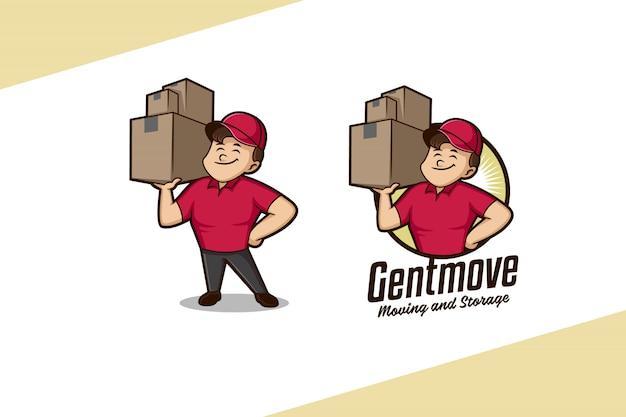 Sanftes mover-maskottchen-logo