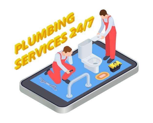 Sanitär-dienstleistungen isometrisch. klempner online-app-konzept. illustration sanitär bad, installieren und reparieren