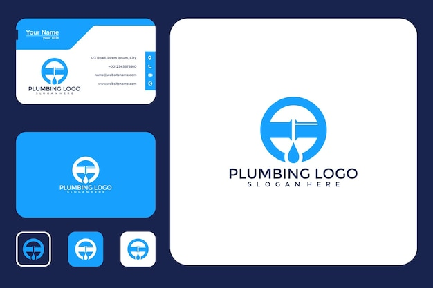 Sanitär-logo-design und visitenkarte