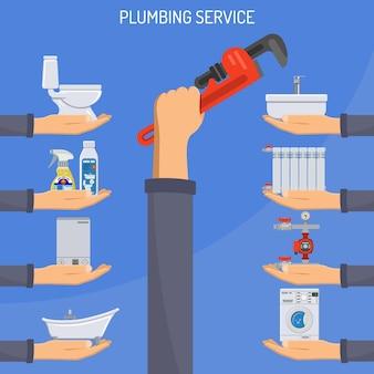 Sanitär-service-konzept mit händen und klempner werkzeugen und geräten flach.