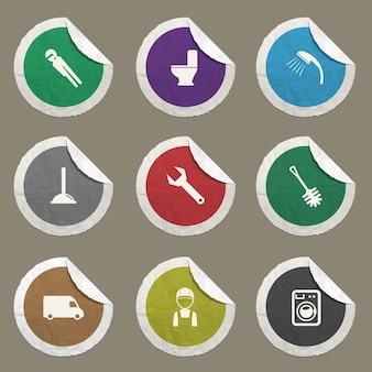 Sanitär-service-symbole für websites und benutzeroberfläche eingestellt