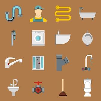 Sanitär-symbole in flachen stil festgelegt