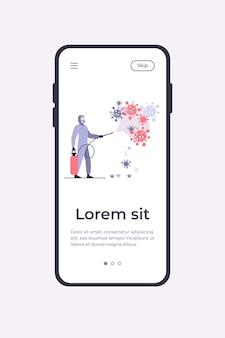 Sanitärarbeiter in schutzanzügen verbreiten chemikalien auf viren und desinfizieren oberflächen. mobile app-vorlage der vektorillustration