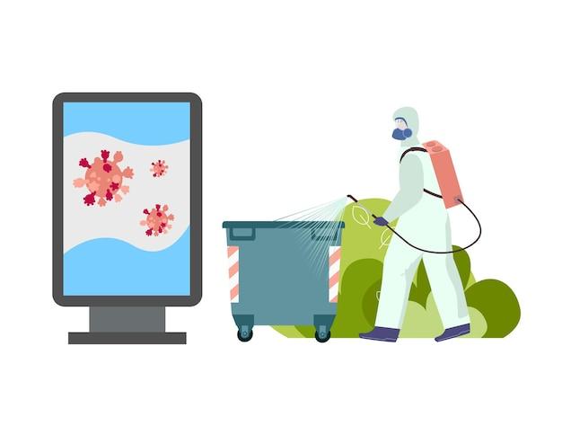 Sanitärmitarbeiter in schutzkleidung putzt straßen flach