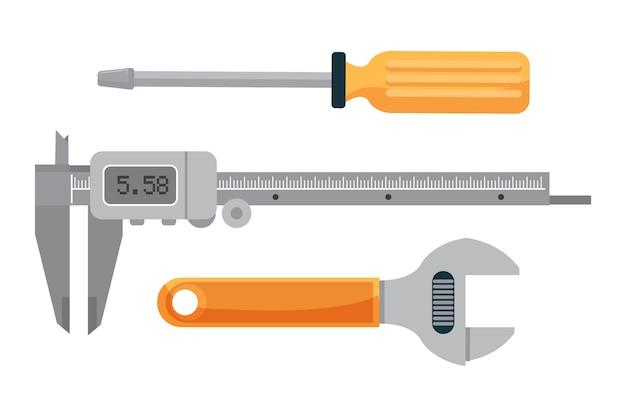Sanitärwerkzeugsatz, verstellbarer schraubenschlüssel, schraubendreher und elektronisches messschiebergerät zur messung.