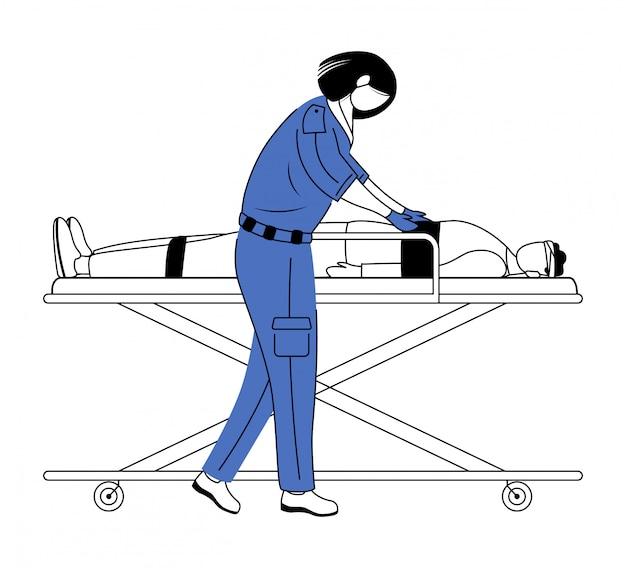 Sanitäter, der flache vektorillustration der ersten hilfe gibt. dringende pflege, wiederbelebung. rettungskräfte, sanitäter. emt und patient mit trauma auf bahre zeichentrickfigur. doktor isoliert auf weiß