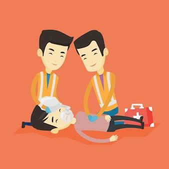 Sanitäter, die eine kardiopulmonale wiederbelebung durchführen.