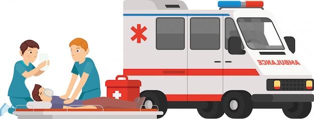 Sanitäter helfen dem patienten, wenn er krank ist
