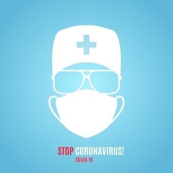 Sanitäter in medizinischer schutzmaske und hut