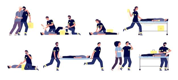 Sanitäter. medizinische nothilfe, erste-hilfe-team. krankenwagen, sanitäter und betroffene. vektor gesundheitspersonal eingestellt. notrettung, rettungssanitäter retten gesundheitsperson illustration