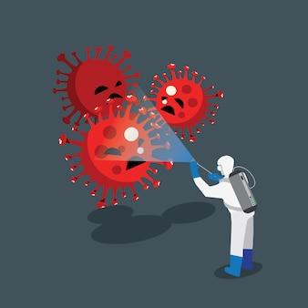 Sanitäter sprühen desinfektionsmittel gegen koronaviren