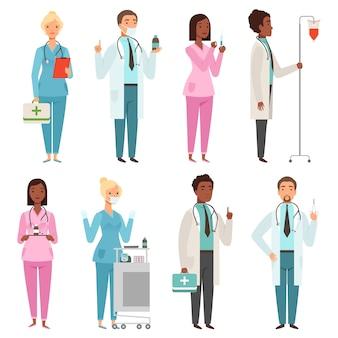 Sanitäter zeichen. männliche und weibliche krankenschwesterdoktor-notarbeitermaskottchen des krankenhausmaterials