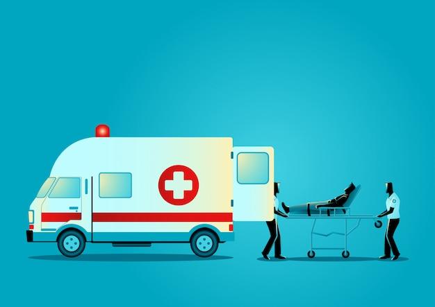 Sanitäterteam, das verletzten mann bewegt