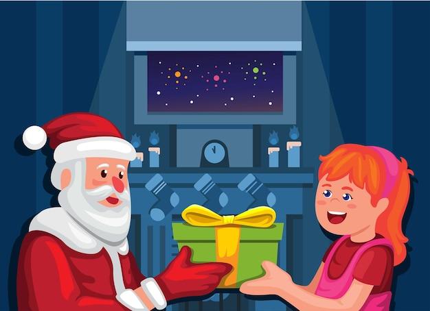 Sankt, die mädchen auf weihnachtsjahreszeitkarikaturillustrationsvektor geschenk gibt