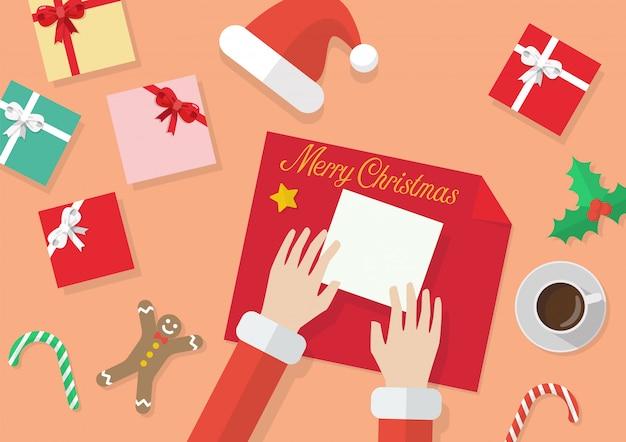 Sankt-hände geben eingewickeltes weihnachtsgeschenk im papier