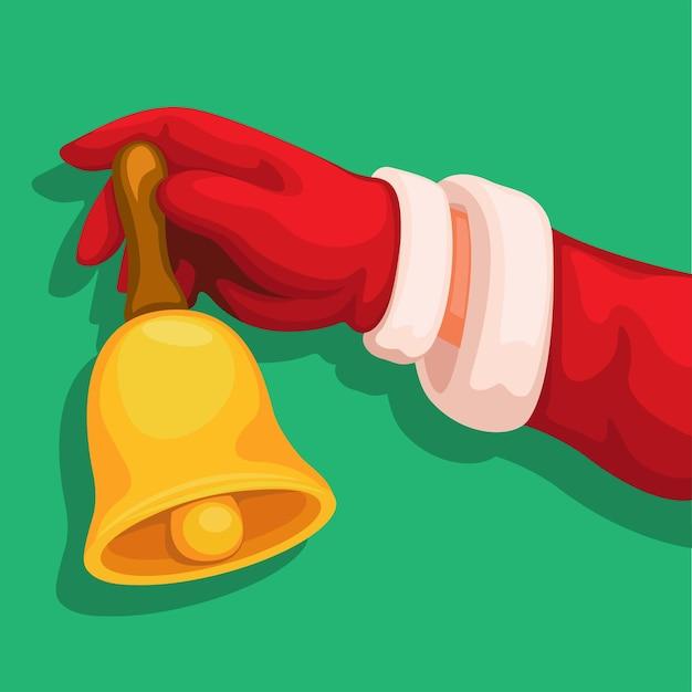 Sankt-hand, die glocke auf weihnachtsjahreszeitillustrationsvektor hält