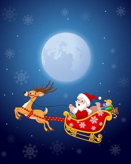 Sankt in seinem weihnachtsschlitten, der durch rentiere gezogen wird