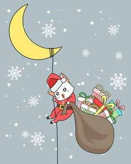 Sankt-katze mit geschenken klettert den mond