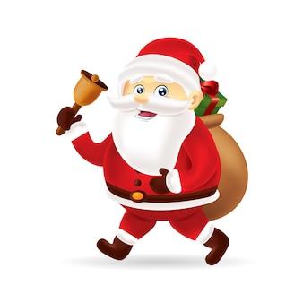 Sankt mit einer glocke und vielen geschenken für weihnachten mit getrennt
