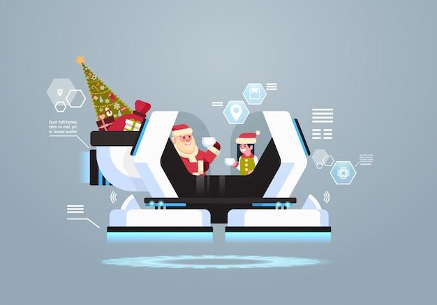 Sankt mit elfengetränkkaffee in der künstlichen intelligenz des modernen roboterschlittens für weihnachten