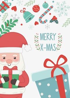 Sankt mit karte der frohen weihnachten der geschenkboxen