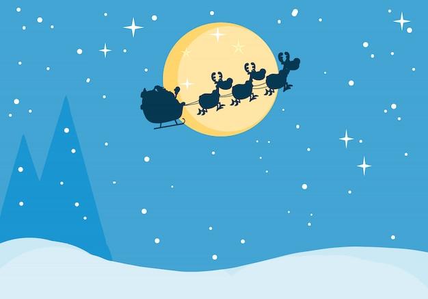 Sankt pferdeschlitten in der weihnachtsnacht