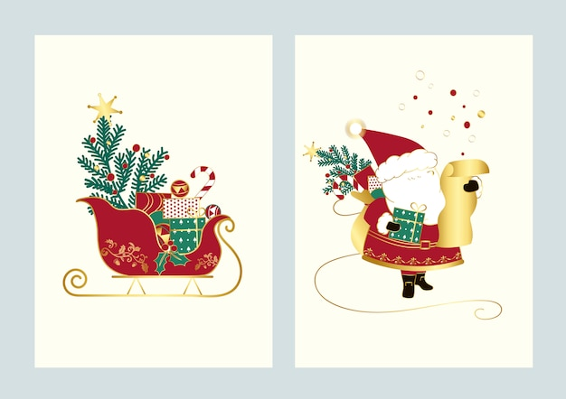 Sankt und sein schlitten weihnachtskartenvektor