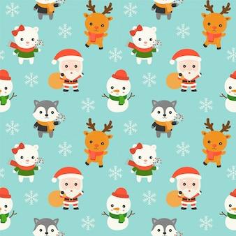 Sankt und tier, weihnachtsnahtloses musterthema, für gebrauch als tapete für das verpacken pape