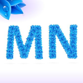 Sans serif-schriftart mit blauer blattdekoration auf weißem hintergrund