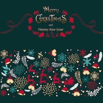 Santa auf dem himmel frohe weihnachten und happy new year card