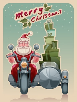 Santa biker auf dem motorrad