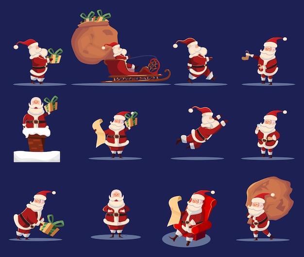 Santa caraus funny caroon character icon set