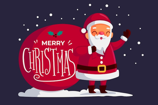 Santa charakter mit schriftzug