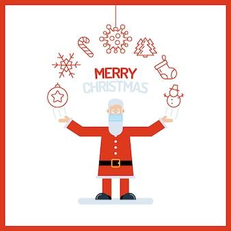 Santa claus alter mann charakter in rot mit seinen händen
