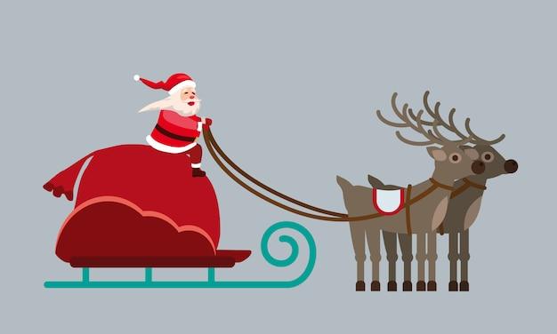 Santa claus auf einem schlitten mit rehen und einem riesigen sack voller geschenke