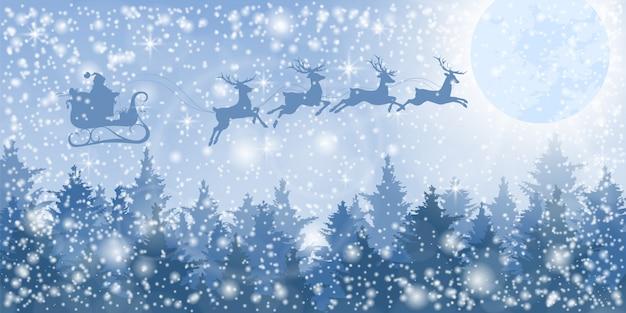 Santa claus auf einem schlitten über dem winterwald.