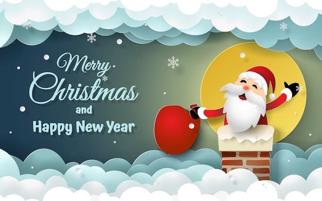 Santa claus auf kamin mit vollmond und dem schneien