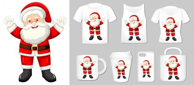 Santa claus auf verschiedenen produktvorlagen