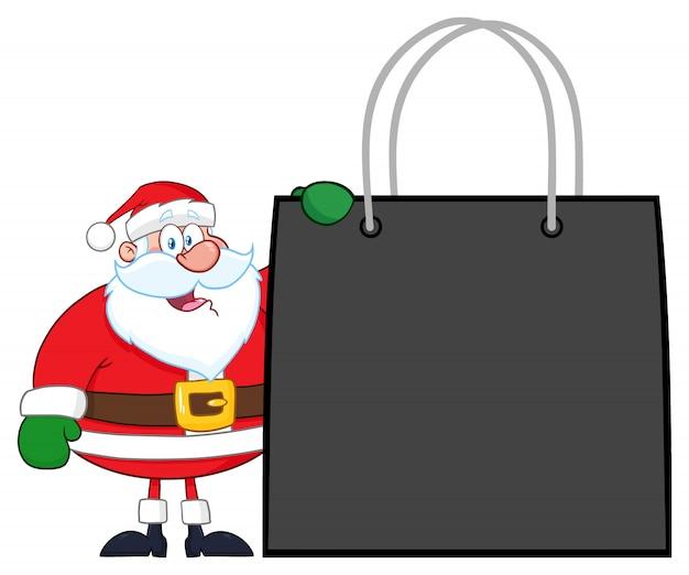 Santa claus cartoon character, die einkaufstasche zeigt