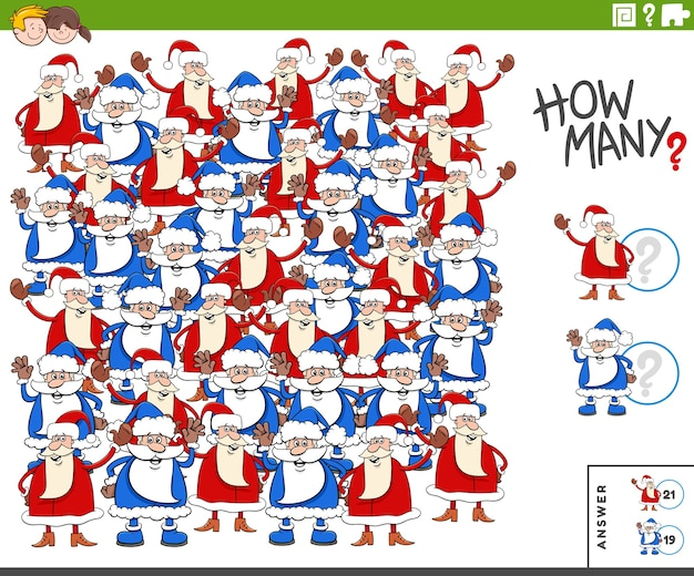 Santa claus charaktere bildungsaufgabe für kinder zählen