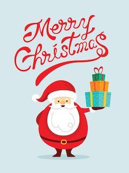 Santa claus charaktere halten geschenkbox mit schriftzug