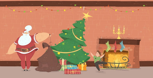 Santa claus come zu hause zum glücklichen kind mit geschenken