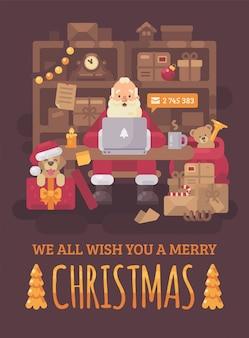 Santa claus, die am schreibtisch in seinem büro sitzt, e-mails auf einem laptop überprüfend. weihnachtsgrüße