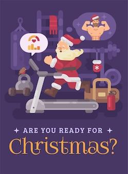 Santa claus, die auf tretmühle in einer turnhalle läuft