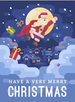 Santa claus, die in eine superheldkap weihnachtskarte fliegt